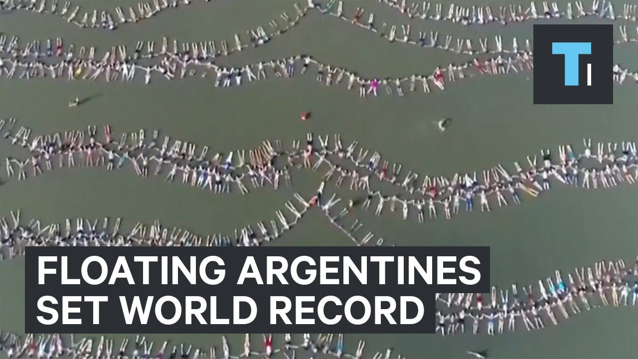 Argentines set world record for most people floating at one time