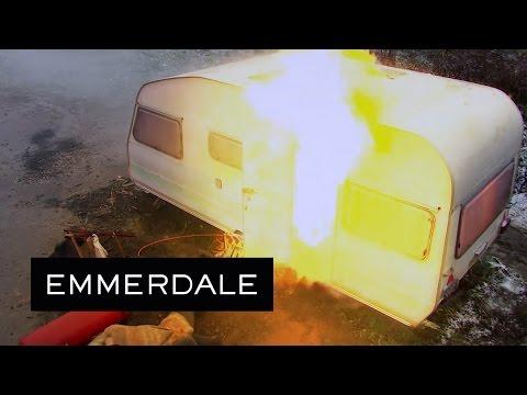 Emmerdale  Cain's Caravan Explodes