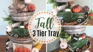 FALL DECORATE WITH ME | FALL 3 TIER TRAY | BUDGET FRIENDLY | DOLLAR TREE DECOR | FALL DECORATING