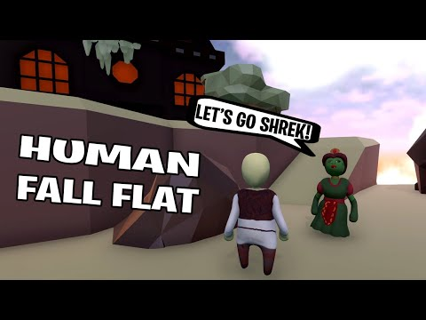 SHREK AND FIONA GOING TO THE HAUNTED HOUSE in HUMAN FALL FLAT  