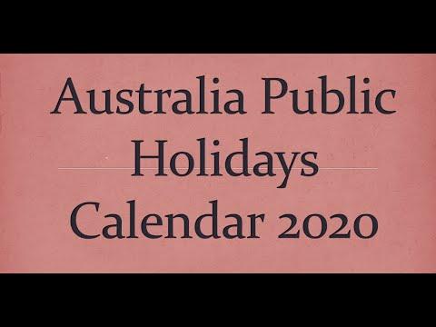 Australia Public Holidays Calendar 2020
