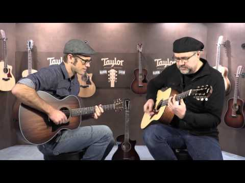 Andy Powers of Taylor Guitars James with Greg Koch in the Taylor Booth  •  NAMM 2016