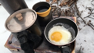Winter Hot  Tent Camping With Wood  stove  Appalachian Trail bushcraft breakfast