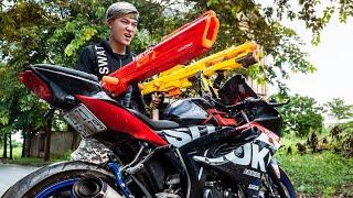 GUGU Nerf War : CID Dragon Nerf Guns Fight Criminal Group SKMAN Mask Home Intruder