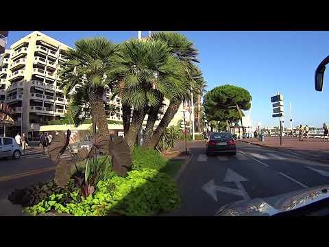 Boulevard de la Croisette. Driving down the famous street in Cannes France.