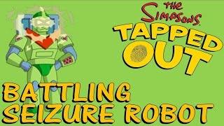 The Simpsons Tapped Out: Battling Seizure Robot (Seizure Warning!!! Flashing Lights!)