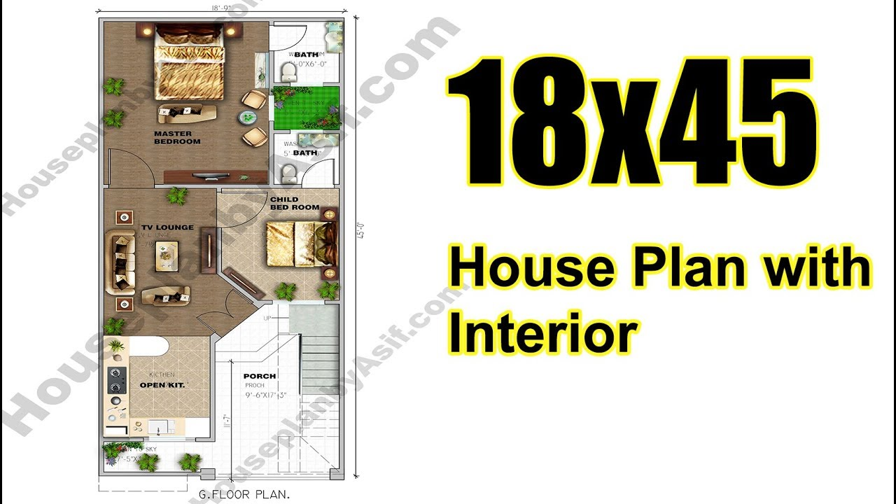 18x45 House Plan Complete