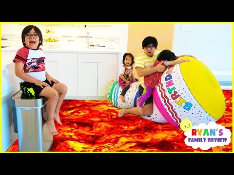 The Floor is Lava for 24 hours Pretend Play with Ryan, Emma, and Kate!!!