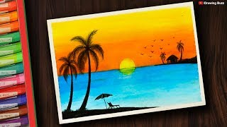 Gambar cover How to draw Sunset Scenery for Beginners with Oil Pastel | Drawing Buzz