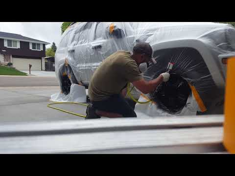 Spraying jeep wheels with Keystone hotrod matte black!!!