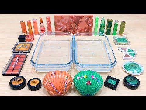 Orange vs Green ! Mixing Makeup Eyeshadow into Clear Slime   Satisfying Slime Videos #627