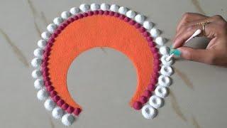 इतनी easy rangoli design जो आप भी बना लेंगे    Easy and quick rangoli by Sangeeta_