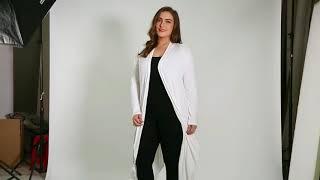 ACEVOG Long Cardigan Women Plus Size Autumn Open Front Solid Draped Asymmetrical