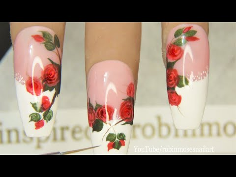 Roses on French Tip Lace Nails!! | In Depth DIY Rose Nail Art Tutorial thumbnail