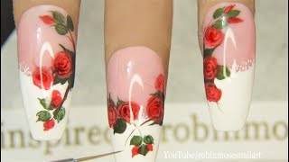 Roses on French Tip Lace Nails!! | In Depth DIY Rose Nail Art Tutorial