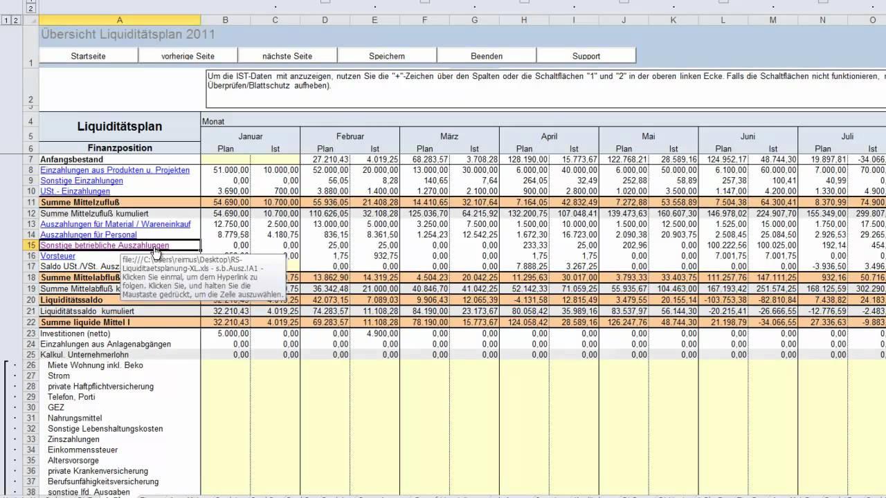 Excel Tool Liquiditatsplanung Vorlage Fur