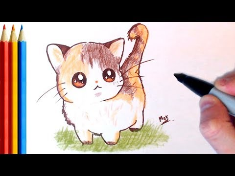 How To Draw Cute Cat Kitten Easy Step By Step Tutorial Youtube