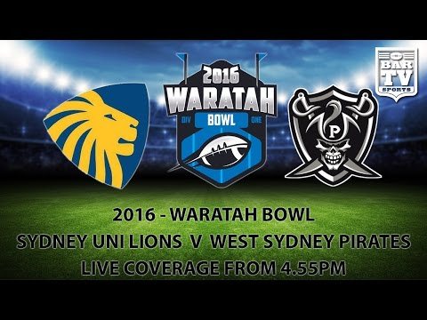 2016 Gridiron NSW - Waratah Bowl - Sydney UNI Lions v West Sydney Pirates