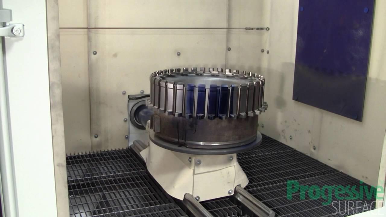 Fan Disk Robotic Dovetail Shot Peen Using Rotary Lance