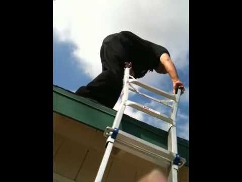 How Not To Get Off A Ladder From A Roof Youtube
