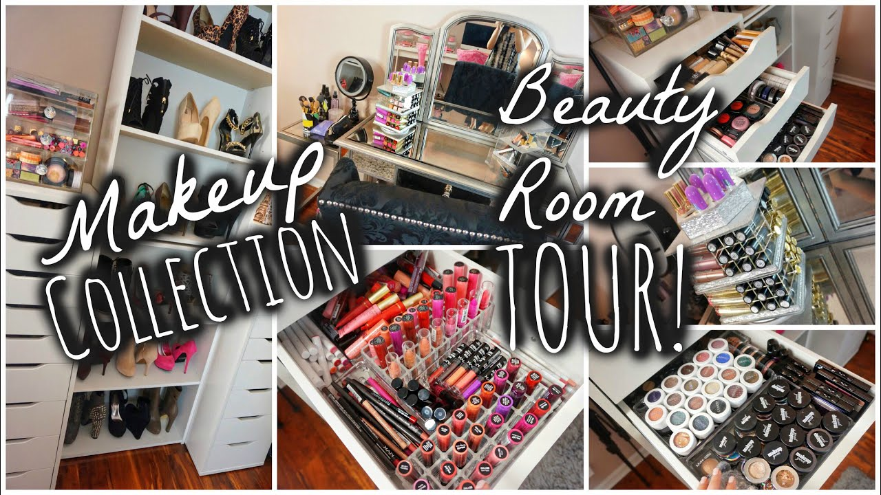 My Makeup Collection Beauty Room Tour 2015 Youtube
