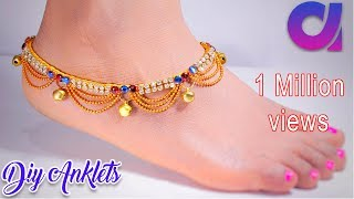 How to make silk thread anklets at home | silk thread jewellery | tutorial | Artkala 191