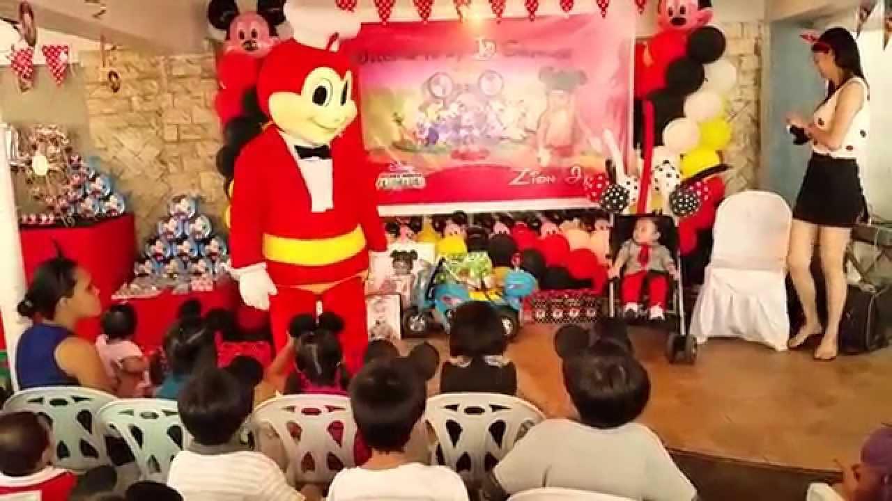 Mickey mouse theme party jollibee zion s 1st birthday youtube