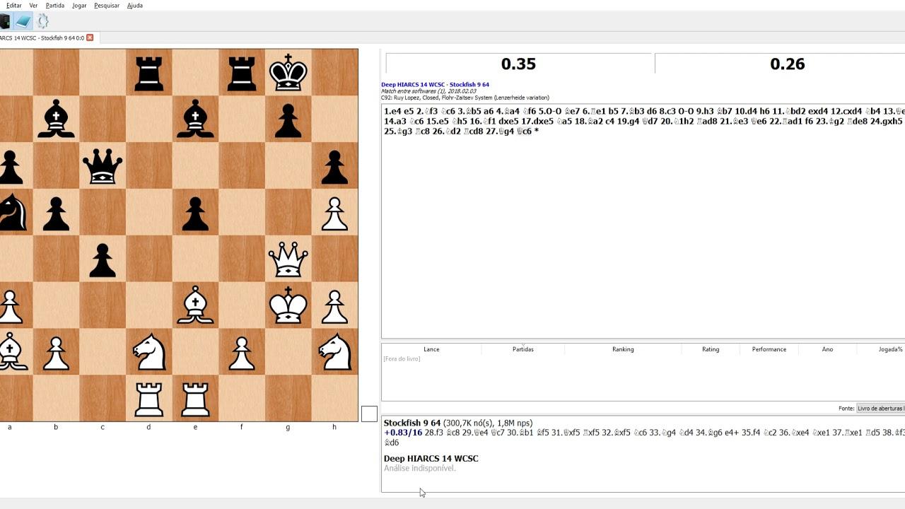 Deep Hiarcs vs  Stockfish 9 - One minute game