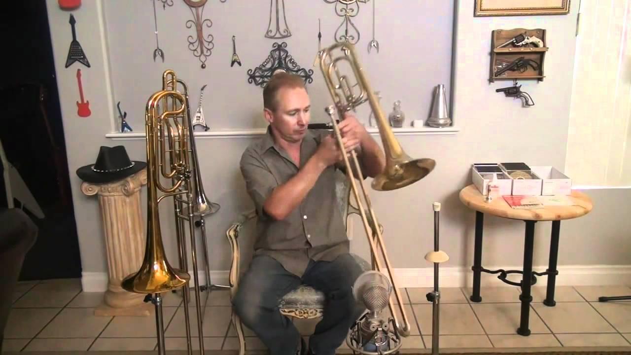 King Duo Gravis Conn 73H Bass Trombone tone demonstration by BillMenchen