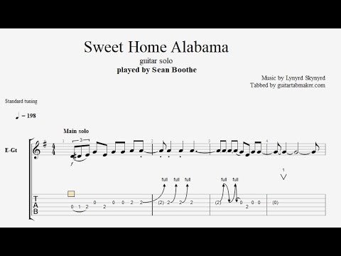 Guitar & bass tablature pdf transcribed by andy aledort. Sweet Home Alabama Solo Tab Electric Guitar Solo Tabs Guitar Pro Youtube