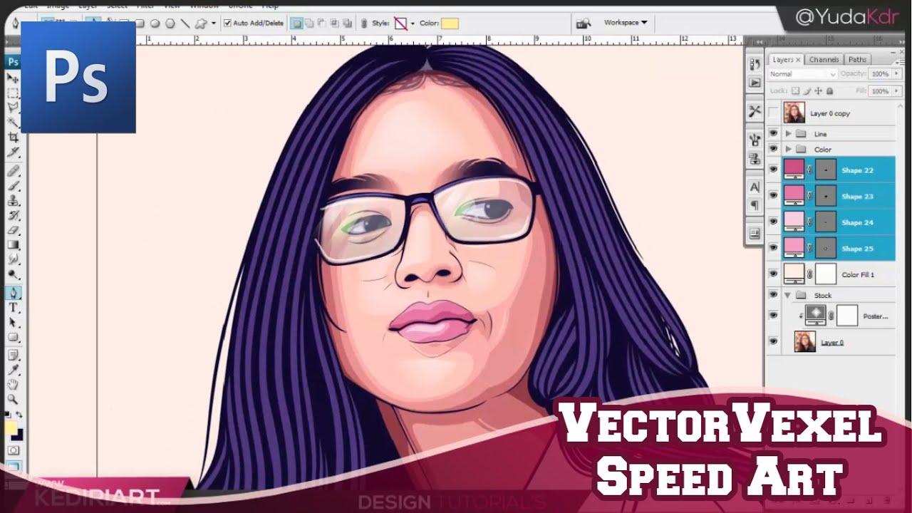 Tutorial membuat vektor kartun photoshop part 2 coloring and shading - Comission Work Vector Vexel Photoshop Speedart Process
