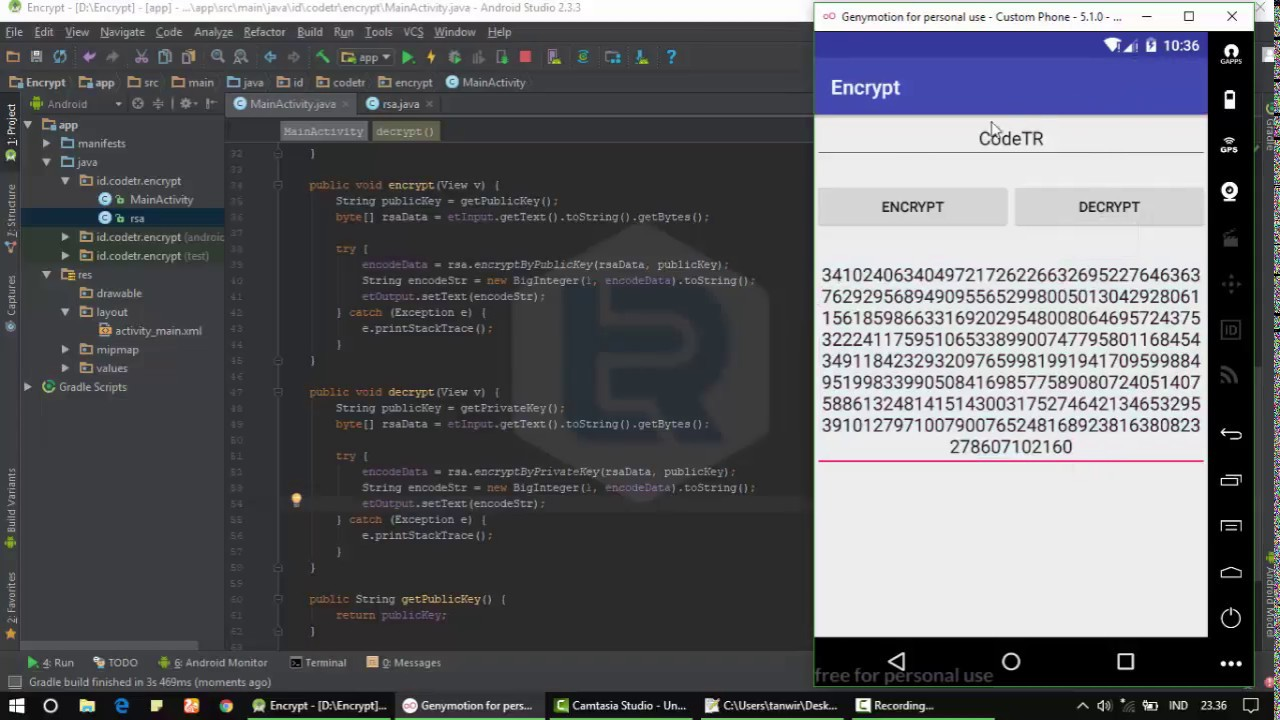 Android Studio - Make Encrypt use Algorithm RSA (Rivest Shamir