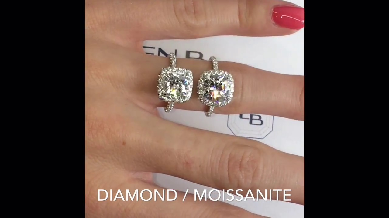 Moissanite Vs Diamond Cushion Halo Rings Youtube