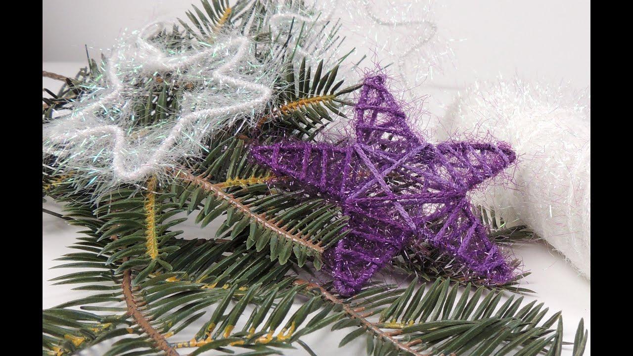 Поделки из ниток и клея новогодний