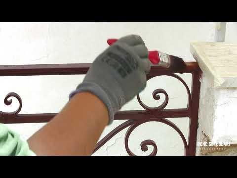 Κάντο Μόνος / Μόνη σου: Βάψιμο κάγκελου με πινέλο / DIY Painting balcony railings with a brush