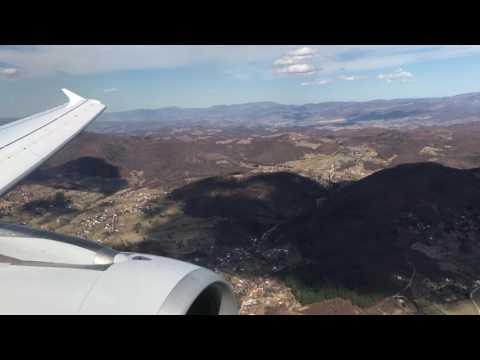 Bumpy approach into Sarajevo airport