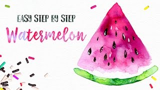 Easy Watercolor Watermelon Painting Tutorial Step by Step // You can do this! :)