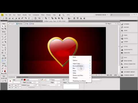 Adobe Fireworks CS4 CS5 Tutorial: How To Make Happy Valentine