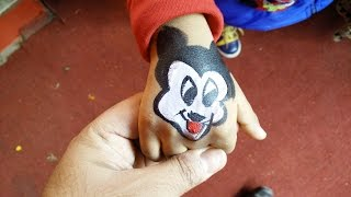How to make temporary paint tattoo for kids   DIY Paint Tattoo   Mickey Mouse Tattoo by Sparsh Hacks