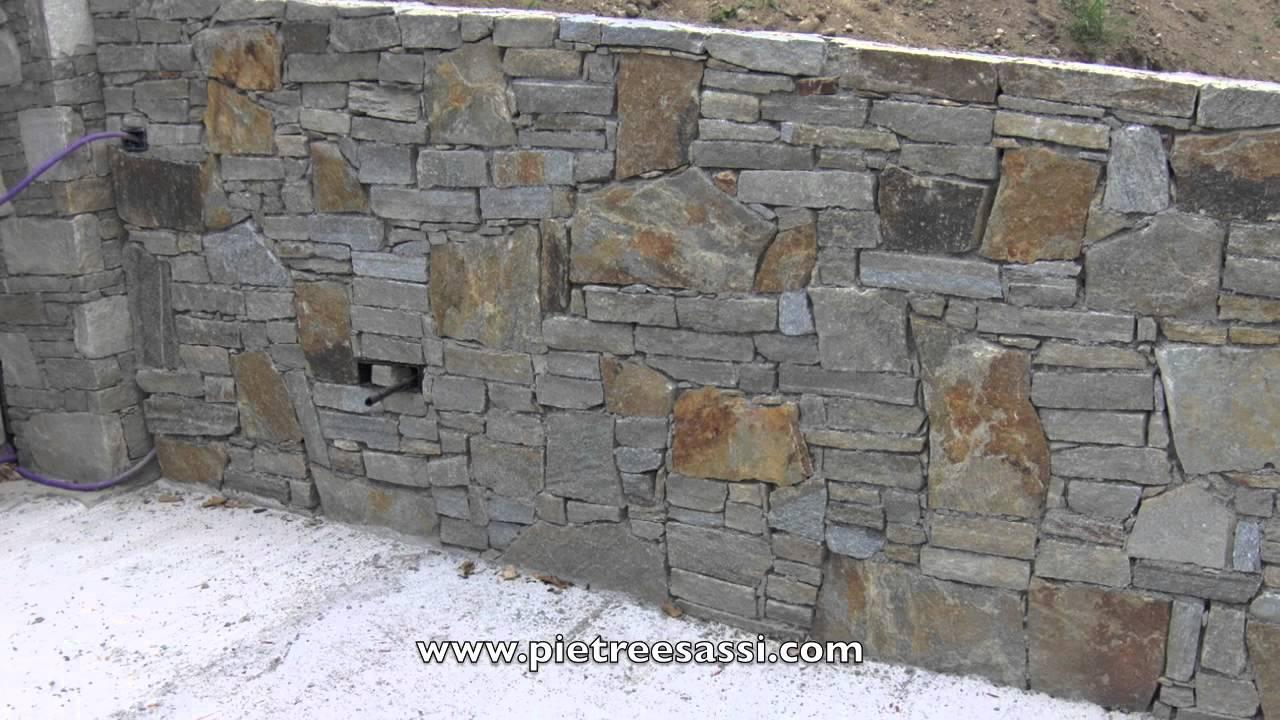 PIETREESASSI : muro in pietra di luserna 2 - YouTube