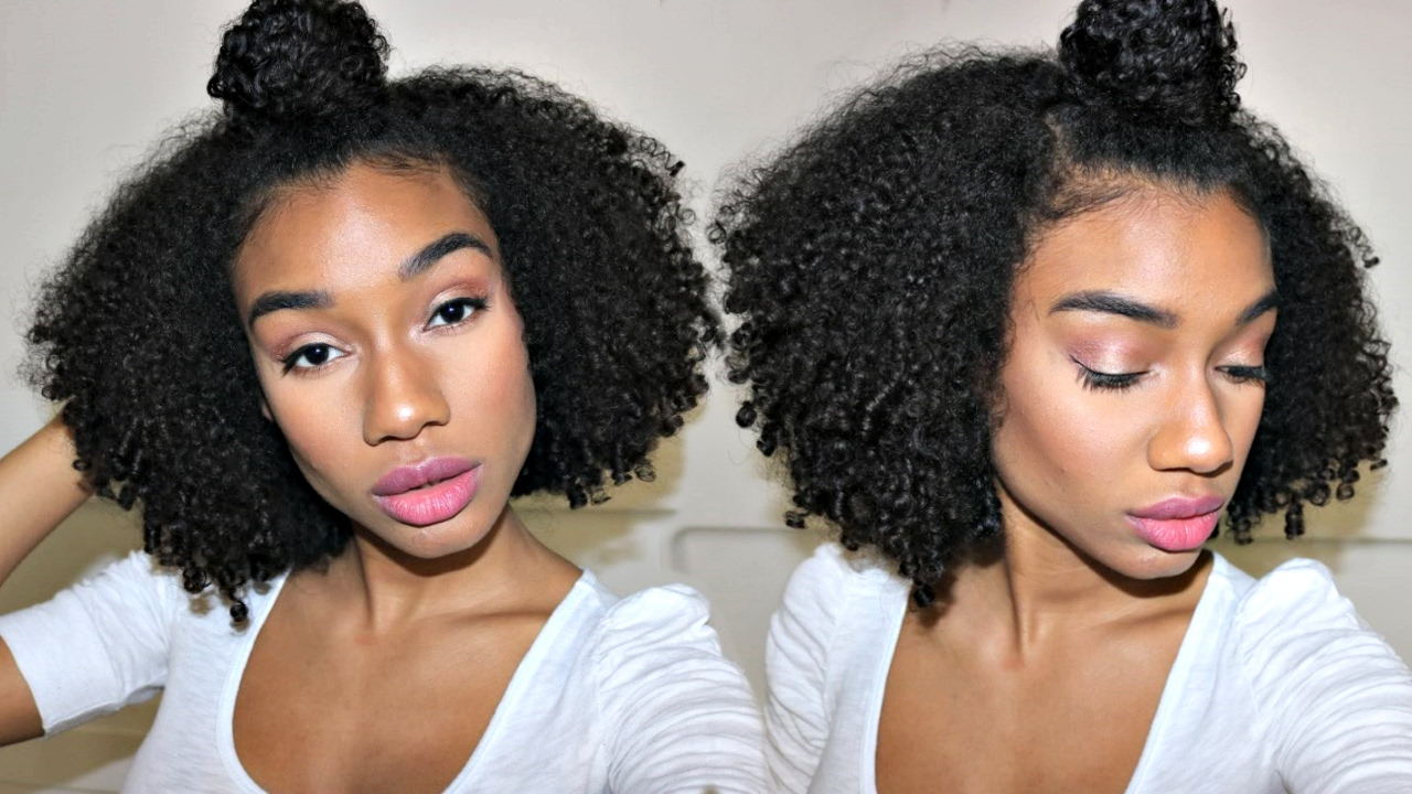 Natural Hair Half Up Half Down Top Knot Youtube