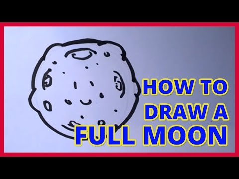 How To Draw A Cartoon Full Moon Easy For Kids Moon Drawing Youtube