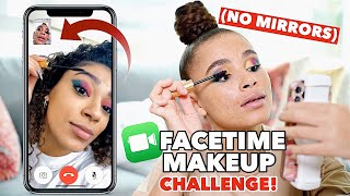 Doing our makeup over FaceTime ONLY!! | Quarantine challenge ft @jasmeannnn