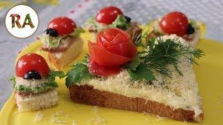 Простые вкусные бутерброды из батона - Бутерброд валентинка