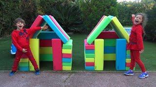 Five Kids Family Pretend Play Bilding Playhouses | DIY Wooden Playhouse | Kids Songs & Nursery Rhyme