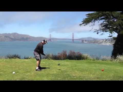 Golden gate bridge golf ball hit