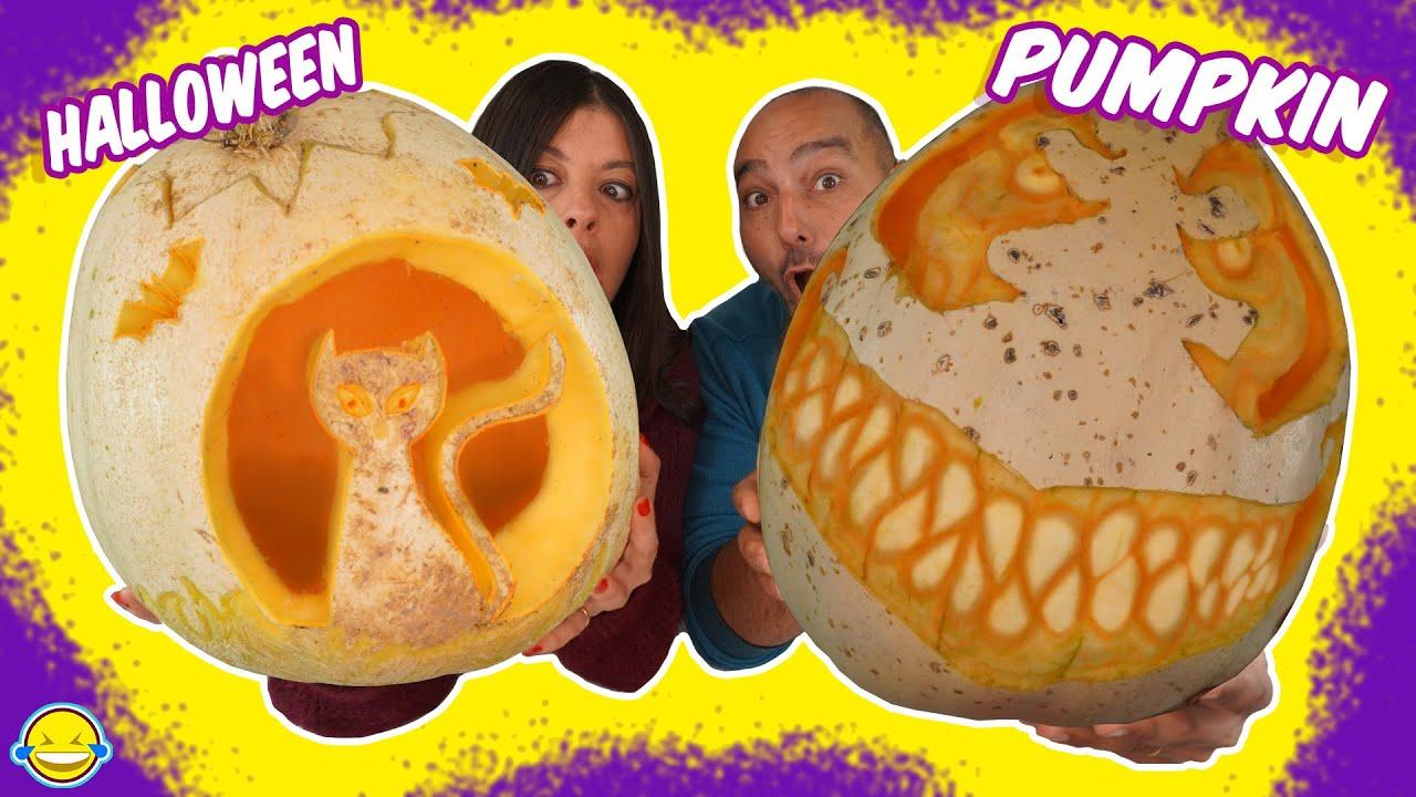 🎃 DECORANDO nuestra CALABAZA de HALLOWEEN 2020 🎃 Making Fantastic Halloween Pumpking! Jordi y Bego