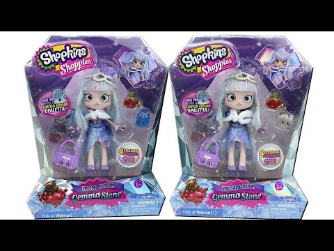Special Edition Shopkins Shoppies Doll Gemma Stone Unboxing Toy Review Walmart Exclusive