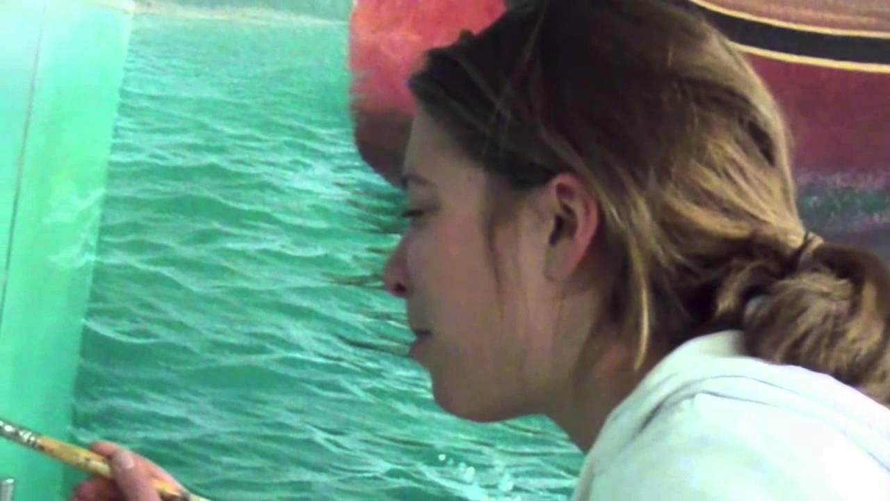 Amy paints waves mural joe youtube for Mural joe painting