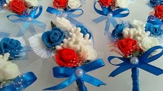 Свадебные бутоньерки. Свадьба в синих тонах. Своими руками из искусственных цветов.